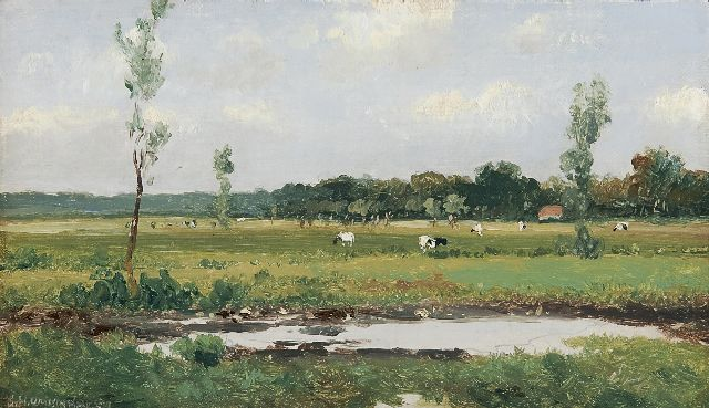 Jan Hendrik Weissenbruch | A Dutch landscape with cows, oil on canvas laid down on panel, 15.8 x 26.9 cm, signed l.l.