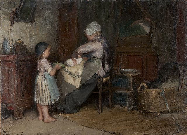 Bernard Blommers | Helping mother, oil on panel, 23.6 x 32.0 cm, signed l.l. and executed ca. 1875