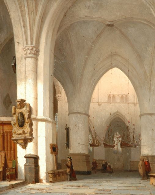 Jan Jacob Schenkel | The interior of the St. Bavo church in Haarlem, oil on panel, 45.1 x 35.9 cm, signed l.l. and dated 1857