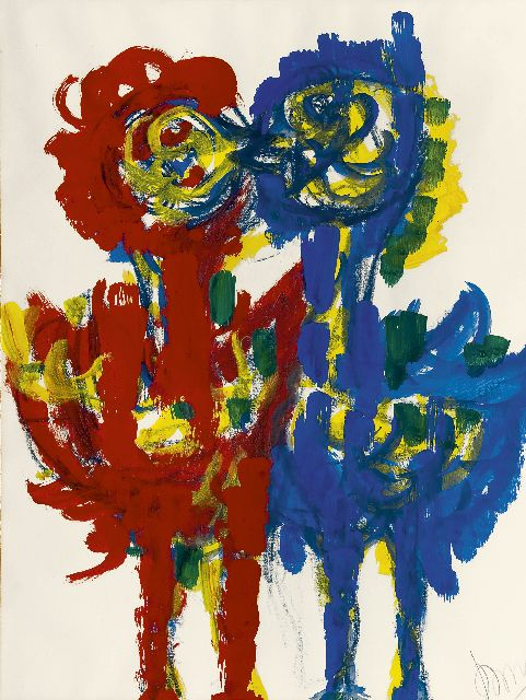 Gerrit Benner | Kissing chicken, chalk and gouache on paper, 65.0 x 50.0 cm, signed l.r. and ca. 1965