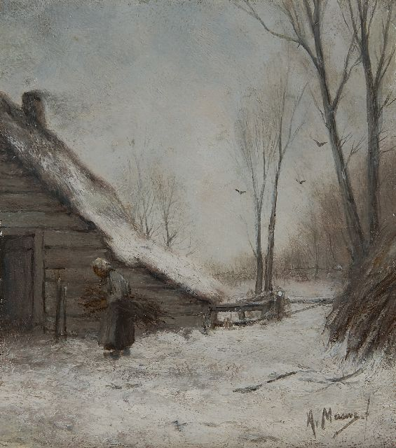 Anton Mauve | A winter landscape with a farmer's wife, oil on panel, 22.0 x 19.9 cm, signed l.r.
