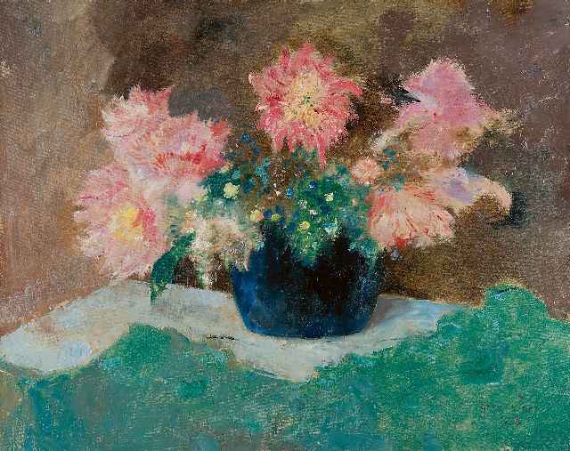 Germ de Jong | Flowers in a blue vase, oil on canvas, 65.7 x 81.2 cm, signed l.r. and dated 1936