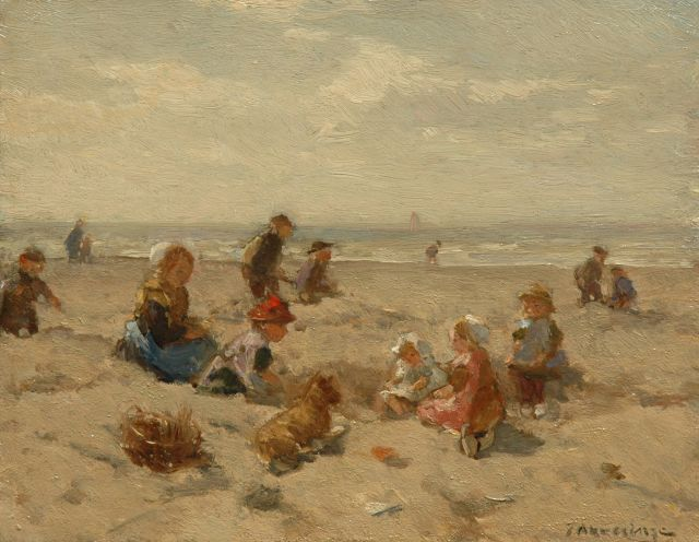 Johannes Evert Hendrik Akkeringa | Children playing on a beach, oil on panel, 17.9 x 22.6 cm, signed l.r.