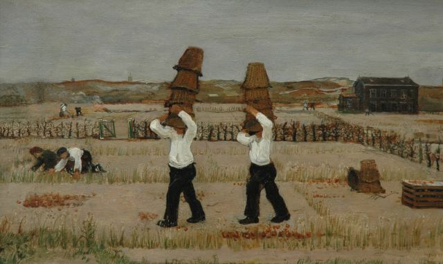 Harm Kamerlingh Onnes | Onion picking, oil on painter's board, 27.6 x 44.9 cm, signed l.r. with monogram and dated '37