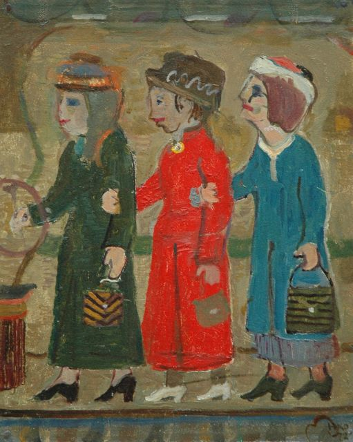 Harm Kamerlingh Onnes | Three ladies, oil on panel, 30.5 x 24.5 cm, signed l.r. with monogram and dated '72