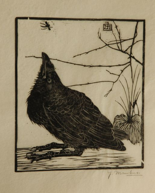 Jan Mankes | A crow watching a mosquito, woodcut on Japanese paper, 11.8 x 10.2 cm, signed w mon in the block and l.r. in full (in pencil and executed in 1918