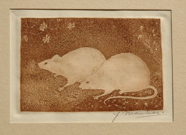 Jan Mankes | Two mice, etching on paper, 6.8 x 10.2 cm, signed l.r. (with pencil) and to be dated 1916