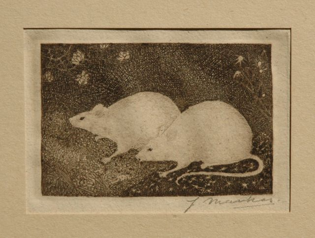 Jan Mankes | Two mice, etching on paper, 6.8 x 10.2 cm, signed l.r. (with pencil) and executed in 1916