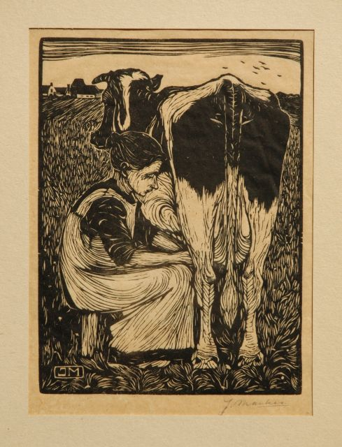 Jan Mankes | Milking a cow, woodcut on paper, 19.2 x 14.2 cm, signed with mon in the block and l.r. in full (in pencil) and executed in 1914