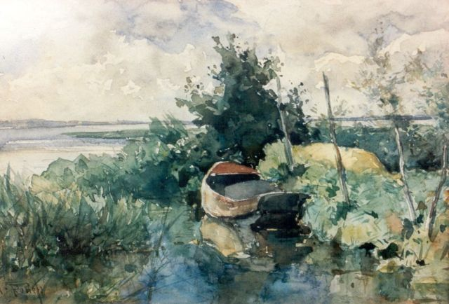 Roelofs W.  | A moored flatboat, watercolour on paper, 16.0 x 23.0 cm, signed l.l.