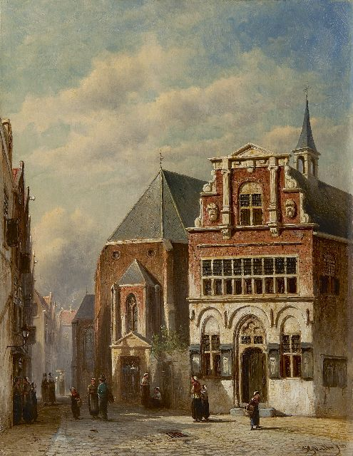Petrus Gerardus Vertin | A view of the old town hall in Woerden, oil on panel, 39.6 x 31.0 cm, signed l.r. and dated '69