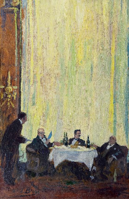 Richard Bloos | In the restaurant, Paris, oil on panel, 61.9 x 40.3 cm, signed l.l.