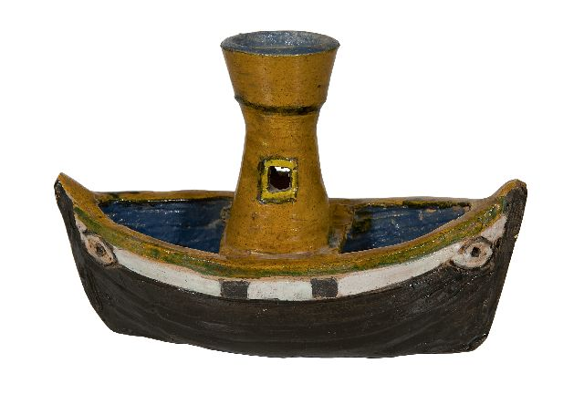 Harm Kamerlingh Onnes | A steamer, glazed pottery, 13.5 x 20.0 cm, signed with monogram on the bottom and dated '62 on the bottom