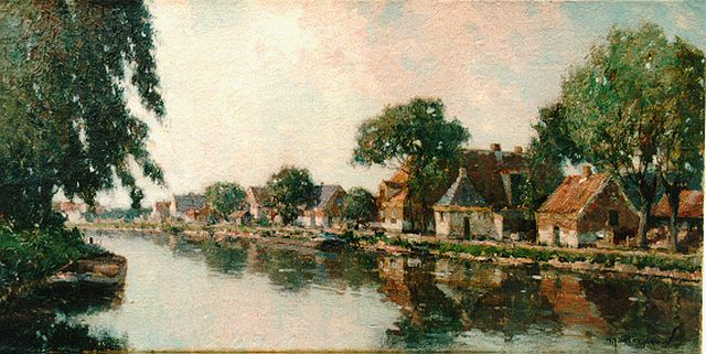 Gerard Delfgaauw | Houses along a waterway, oil on canvas, 40.5 x 80.5 cm, signed l.r.