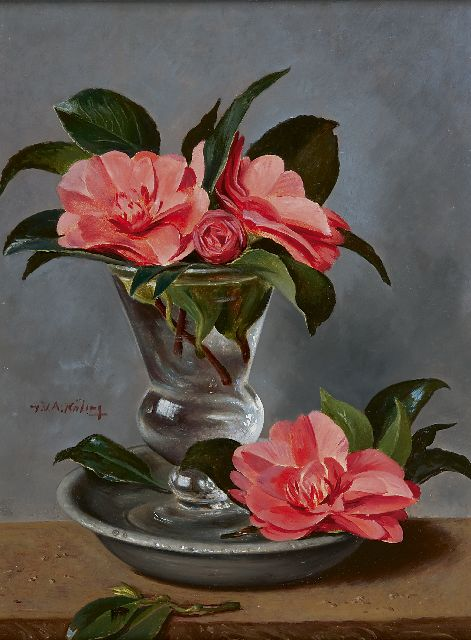 Gé Röling | A still life with camelia, oil on board, 40.2 x 29.5 cm, signed c.l.