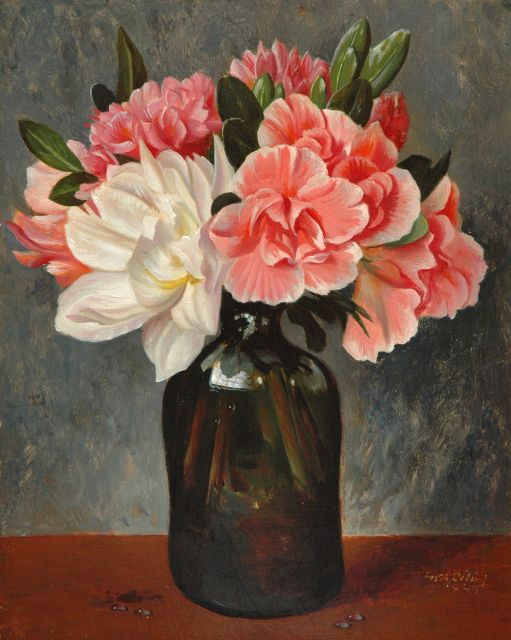 Gé Röling | Flowers in a glass bottle, oil on board, 25.2 x 20.2 cm, signed l.r. and dated 1945
