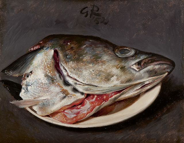 Gé Röling | A salmon head on a plate, oil on board, 25.1 x 30.3 cm, signed upper centre with initials and in full reverse and dated '52 and 1952 on the reverse