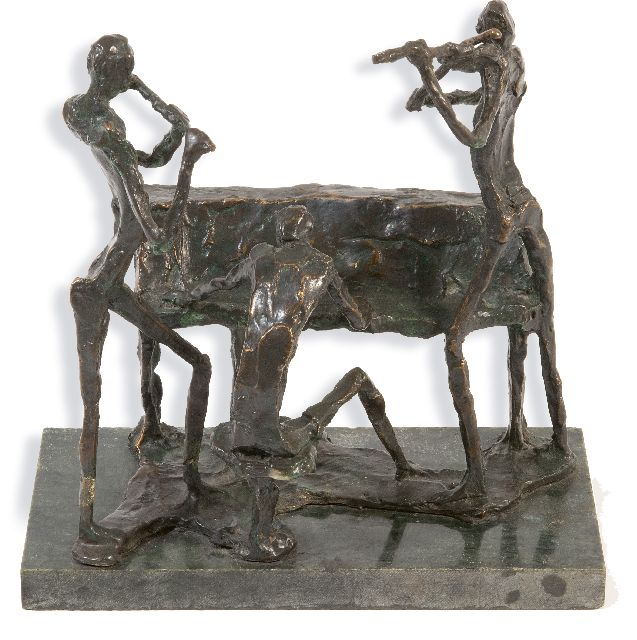 Jits Bakker | the concert, bronze, 21.0 x 21.1 cm, signed on the base with initials