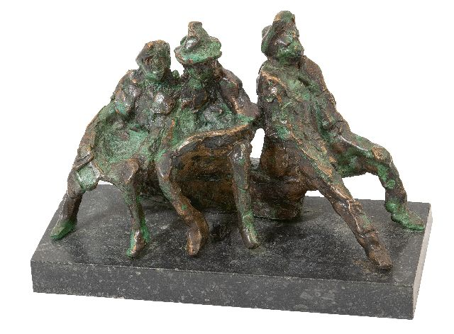 Jits Bakker | Three figures on a bench, bronze, 11.5 x 18.1 cm, signed on rear side of bench