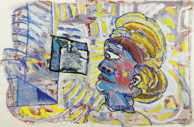 Lucebert | The head, chalk and gouache on paper, 52.0 x 77.5 cm, signed l.l. and dated 'San Roque 18 VII '65'