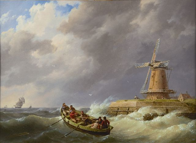 Johannes Hermanus Koekkoek | A rowing boat in a storm near a harbour, oil on panel, 37.3 x 50.5 cm, signed l.l. and dated 1844