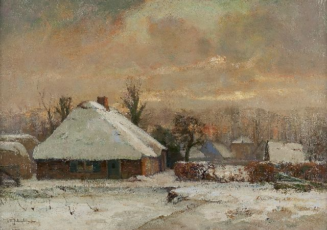 David Schulman | Snow-covered farms at sunset, Blaricum, oil on canvas, 47.2 x 67.4 cm, signed l.l.