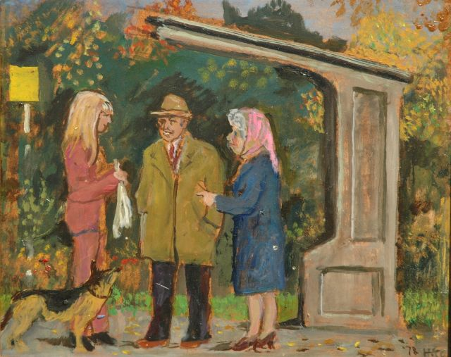 Harm Kamerlingh Onnes | A talk at the busstop, oil on board, 27.2 x 33.5 cm, signed l.r. with monogram and dated '78