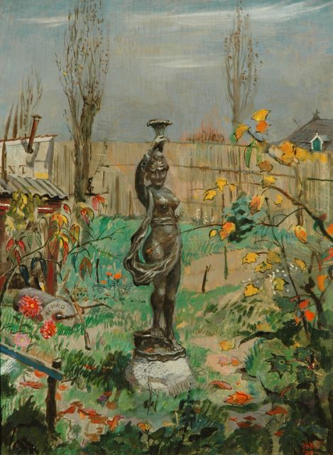 Harm Kamerlingh Onnes | A sculpture in the garden, oil on panel, 37.2 x 27.2 cm, signed with monogram l.r. and l.c. and dated '45 l.r. and '46 l.c.