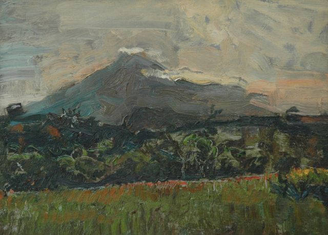 Harm Kamerlingh Onnes | A landscape with the Piso Piso on Sumatra, oil on panel, 27.6 x 35.0 cm