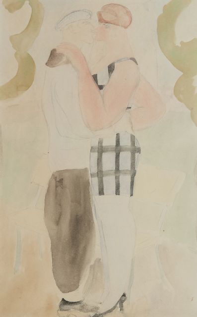 Ferdinand Erfmann | The kiss, pencil and watercolour on paper, 50.0 x 32.7 cm