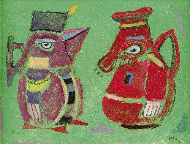 Harm Kamerlingh Onnes | The cupbearers, oil on board, 18.5 x 24.3 cm, signed l.r. with monogram and dated '53