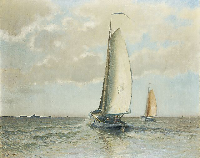 Anthonie Pieter Schotel | A Volendam barge on the Zuiderzee near Marken, oil on canvas, 80.3 x 100.5 cm, signed l.l.