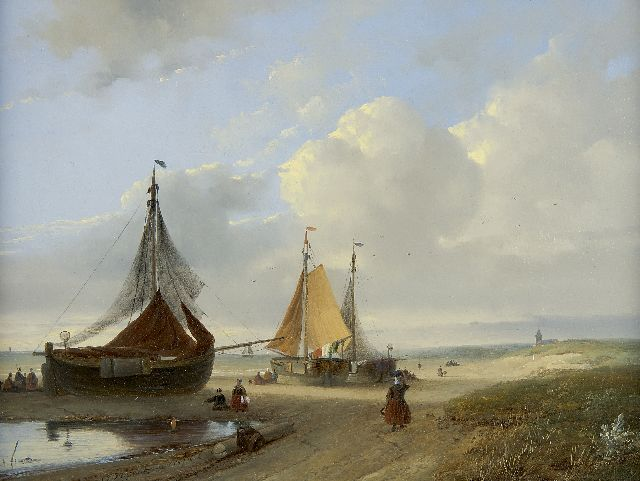 Johannes Franciscus Hoppenbrouwers | Fishing boats on the beach, oil on panel, 28.4 x 37.4 cm, signed l.l. and dated 1853