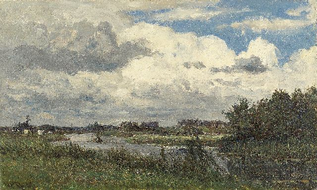 Roelofs W.  | Loosdrecht, oil on canvas laid down on panel, 26.3 x 44.1 cm, signed l.l. and painted ca. 1881