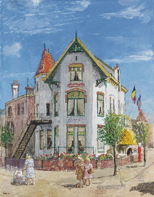 Harm Kamerlingh Onnes | The Leeuwendaal Hotel, Rijswijk, oil on eternite, 44.8 x 35.3 cm, signed l.l. with monogram and dated '55