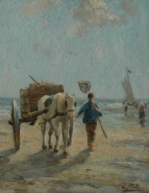 Evert Pieters | A fisherman at the beach, Katwijk, oil on panel, 40.0 x 31.2 cm, signed l.r.