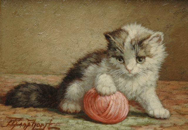 Cornelis Raaphorst | Kitten with ball of wool, oil on panel, 13.5 x 18.4 cm, signed l.l.