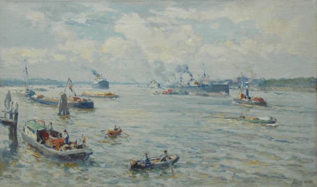 Evert Moll | A harbour view, oil on canvas, 60.1 x 100.4 cm, signed l.r.
