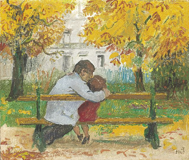 Harm Kamerlingh Onnes | Kissing couple in the park, oil on board, 34.0 x 39.9 cm, signed l.r. with monogram and dated '58