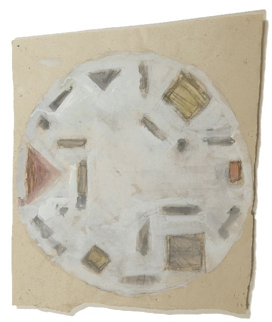 Leck B.A. van der | Design for a plate, pencil, chalk, watercolour and gouache on paper 36.5 x 30.2 cm, painted ca. 1939