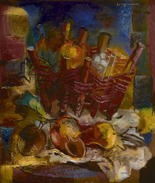 Jaap Wagemaker | Still life with a wicker basket, oil on canvas, 60.3 x 50.4 cm, signed u.r. and painted 1924