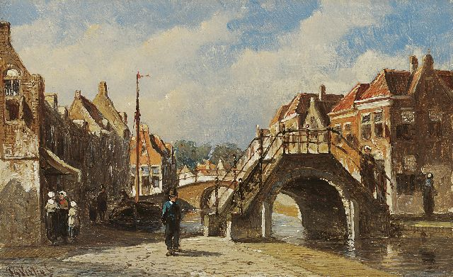 Petrus Gerardus Vertin | A summer day in Monnickendam, oil on panel, 9.8 x 15.8 cm, signed l.l.