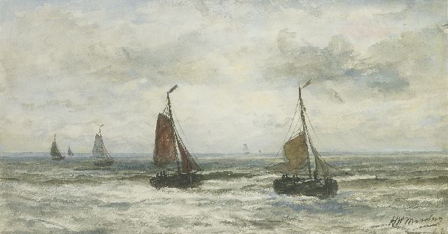 Hendrik Willem Mesdag | The return of the fishing fleet, watercolour on paper, 24.0 x 44.5 cm, signed l.r.
