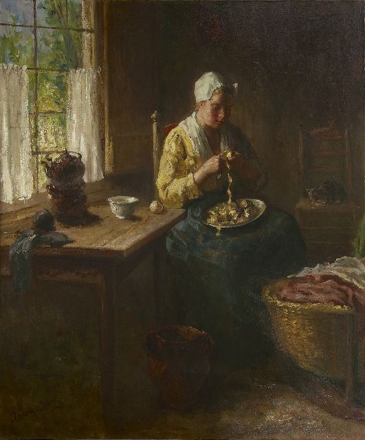 Hoog J.B. de | Peeling potatoes, oil on canvas 120.3 x 100.3 cm, signed l.l.