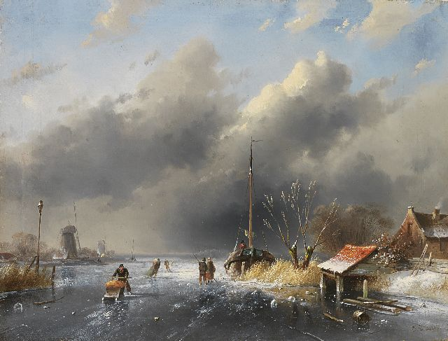 Charles Leickert | Skaters on a frozen river, oil on panel, 26.8 x 35.5 cm, signed l.r.