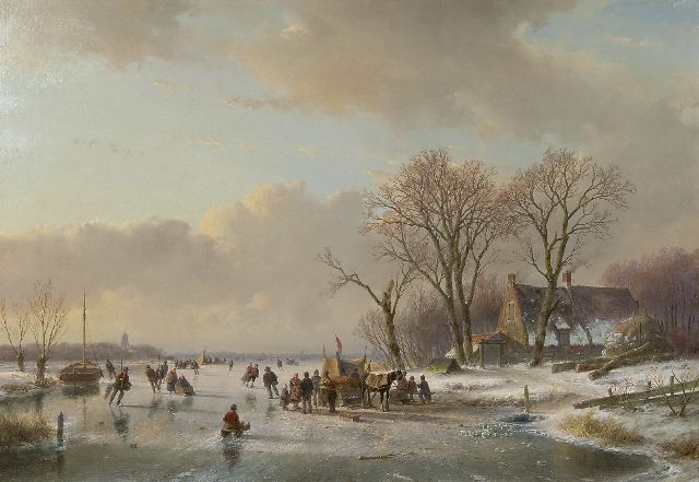 Schelfhout A.  | Skaters on a frozen river, oil on canvas 65.3 x 93.1 cm, signed l.l. and executed ca. 1850-1860