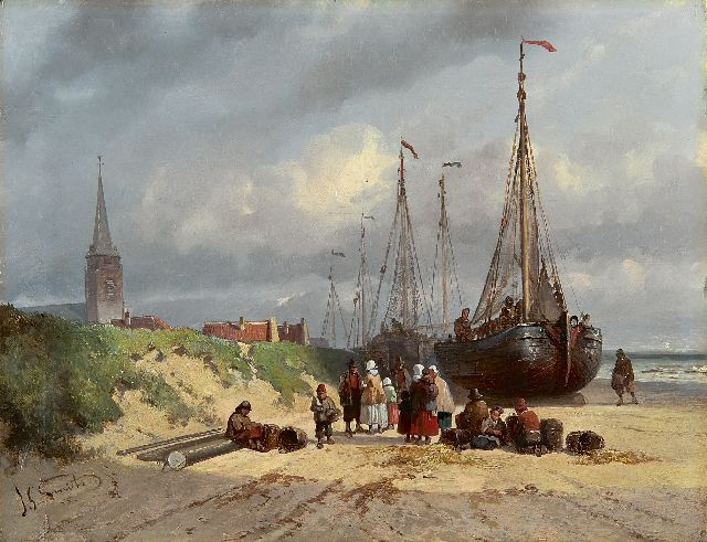 Jan Gerard Smits | Sailing vessels and fishermen on the beach of Scheveningen, oil on panel, 22.4 x 29.4 cm, signed l.l. and dated '55