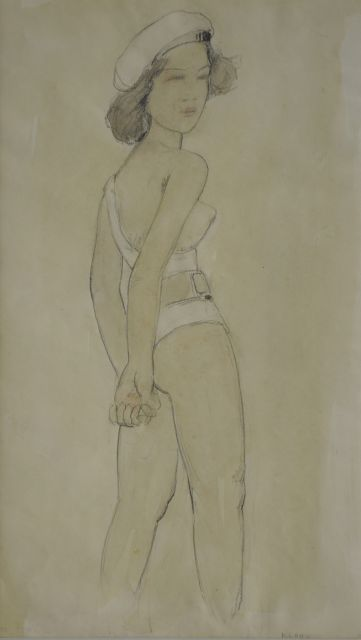 Cornelis Kloos | A girl with a white jacket, pencil and watercolour on paper, 30.9 x 18.0 cm, signed l.r.