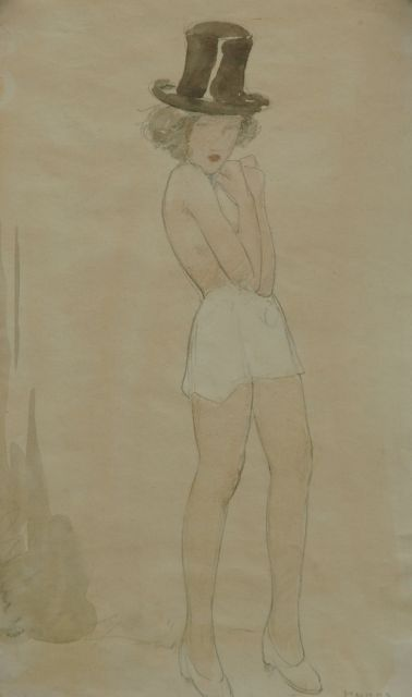 Cornelis Kloos | Nude with a top hat and a white skirt, pencil and watercolour on paper, 30.7 x 17.9 cm, signed l.r. and executed on 15-10-1941