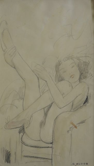 Cornelis Kloos | Nude with uplifted legs, pencil and watercolour on paper, 30.8 x 17.8 cm, signed l.r. with artist's stamp and executed on 4-2-41